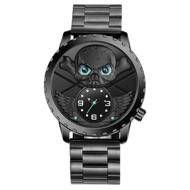 Green Eyes Winged Skull Watch - Rebel Heat