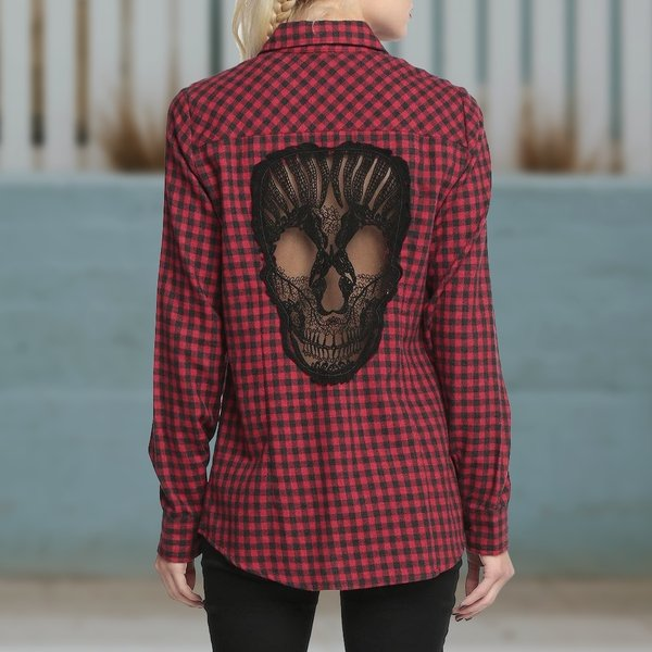 Hollow Out Skull Shirt - Rebel Heat