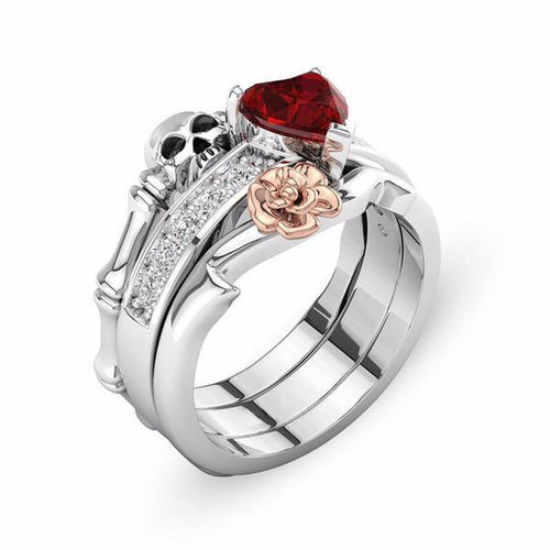 Red Heart Floral Skull Ring - Rebel Heat