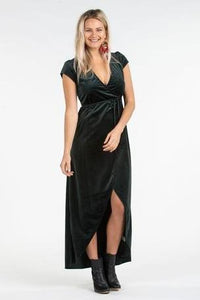 Velvet Wrap Dress in Emerald Green