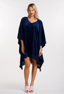 Velvet Kaftan in Navy