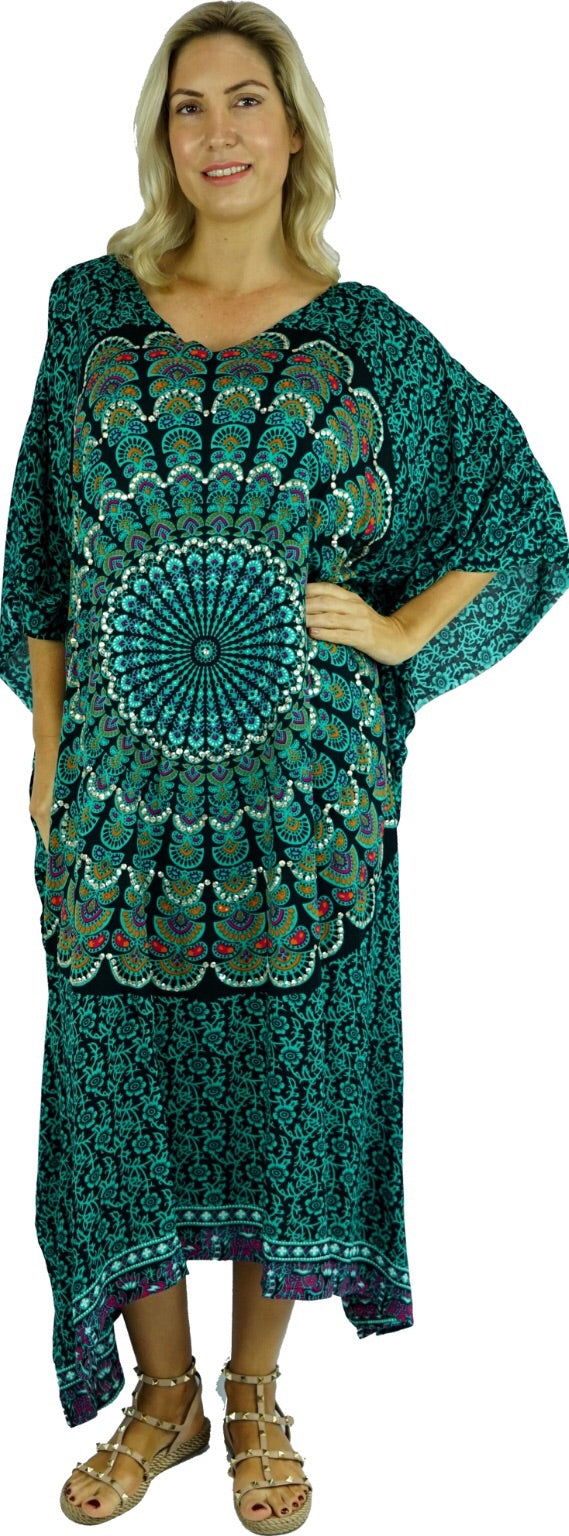 Long Black / Mint Kaftan.