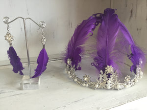 Gatsby Feather Tiara and Earrings set