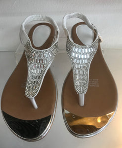 Silver and white Sandals