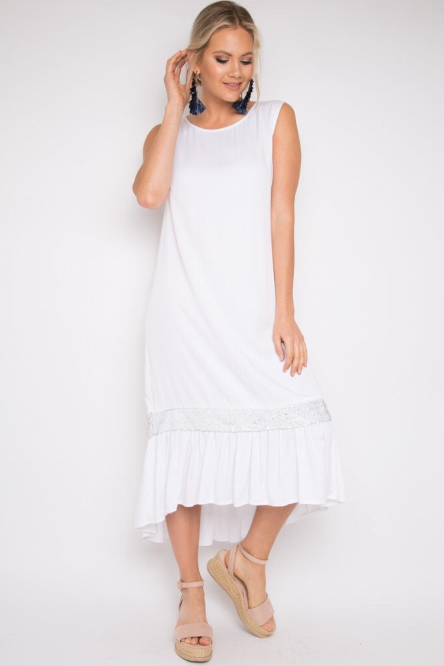 Flute Dress in Coconut / White Silver