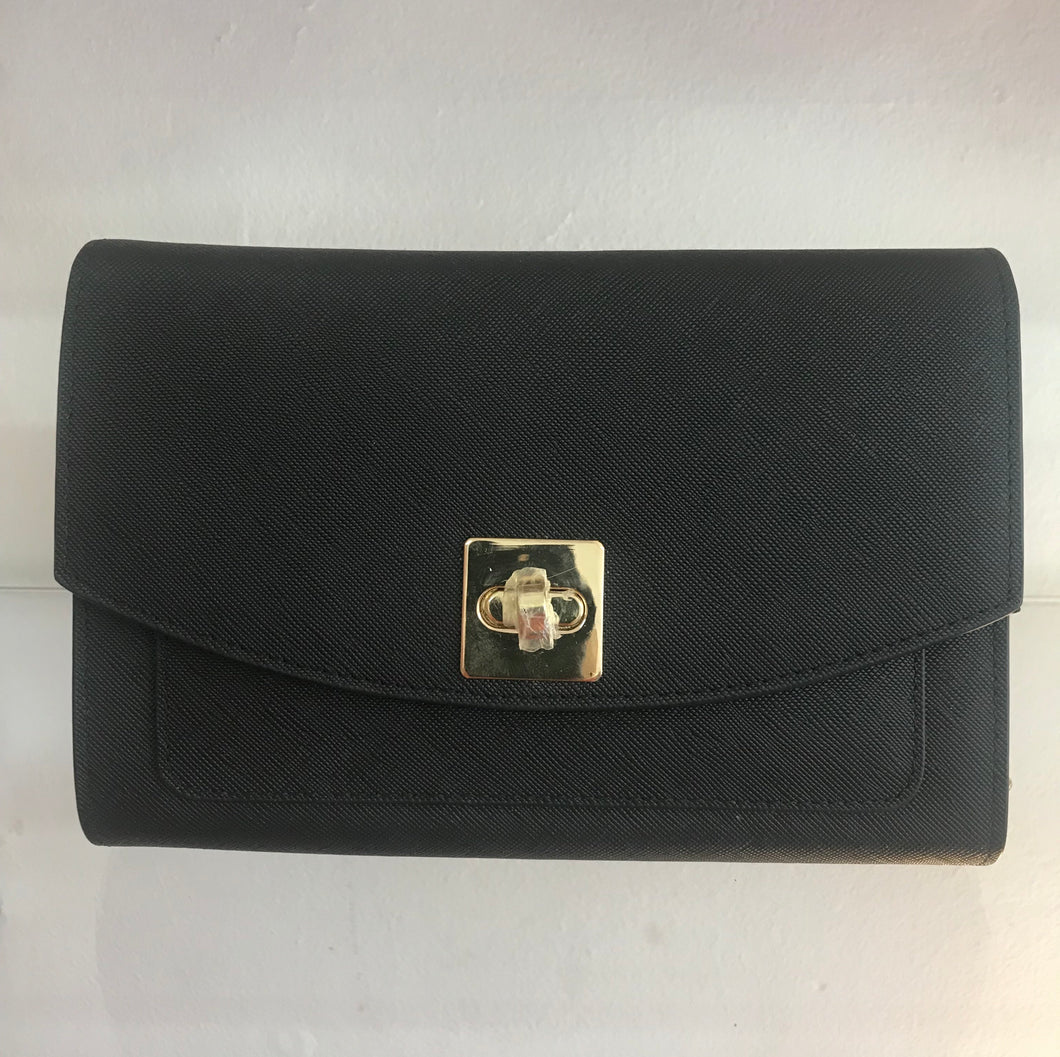 Black Clutch With Gold Chain Strap