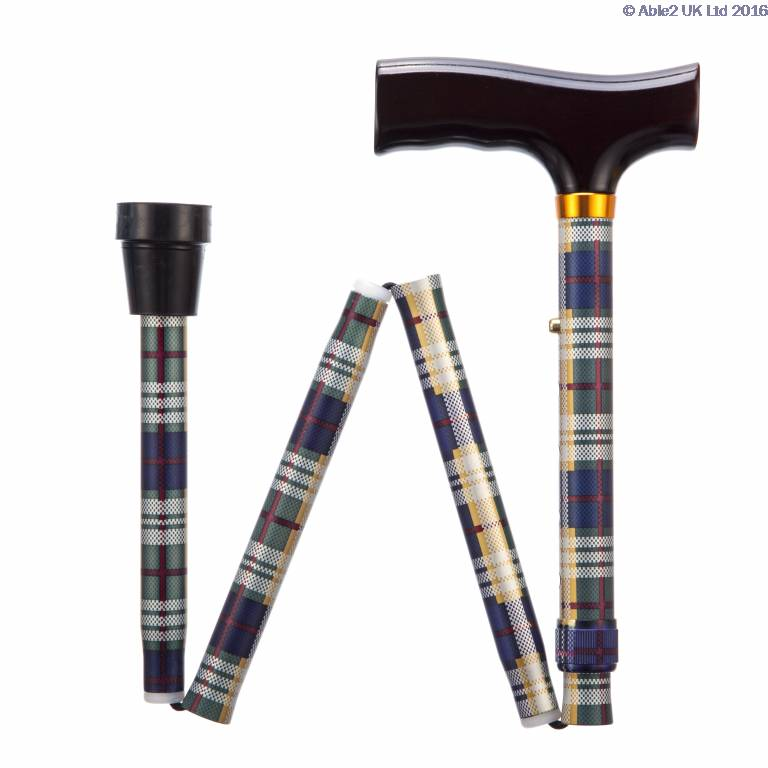 Folding Adjustable Walking Sticks - Tartan