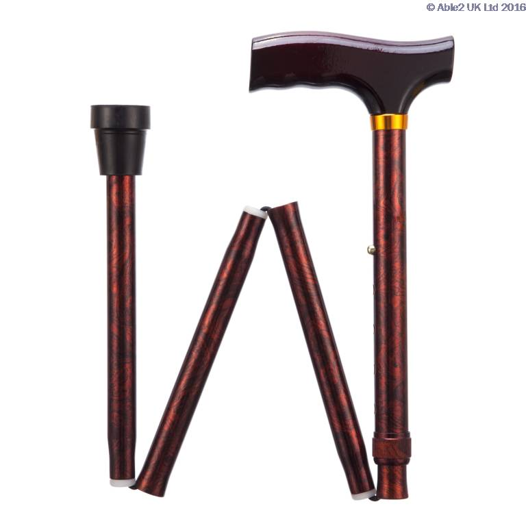 Folding Adjustable Walking Sticks - Birds Eye