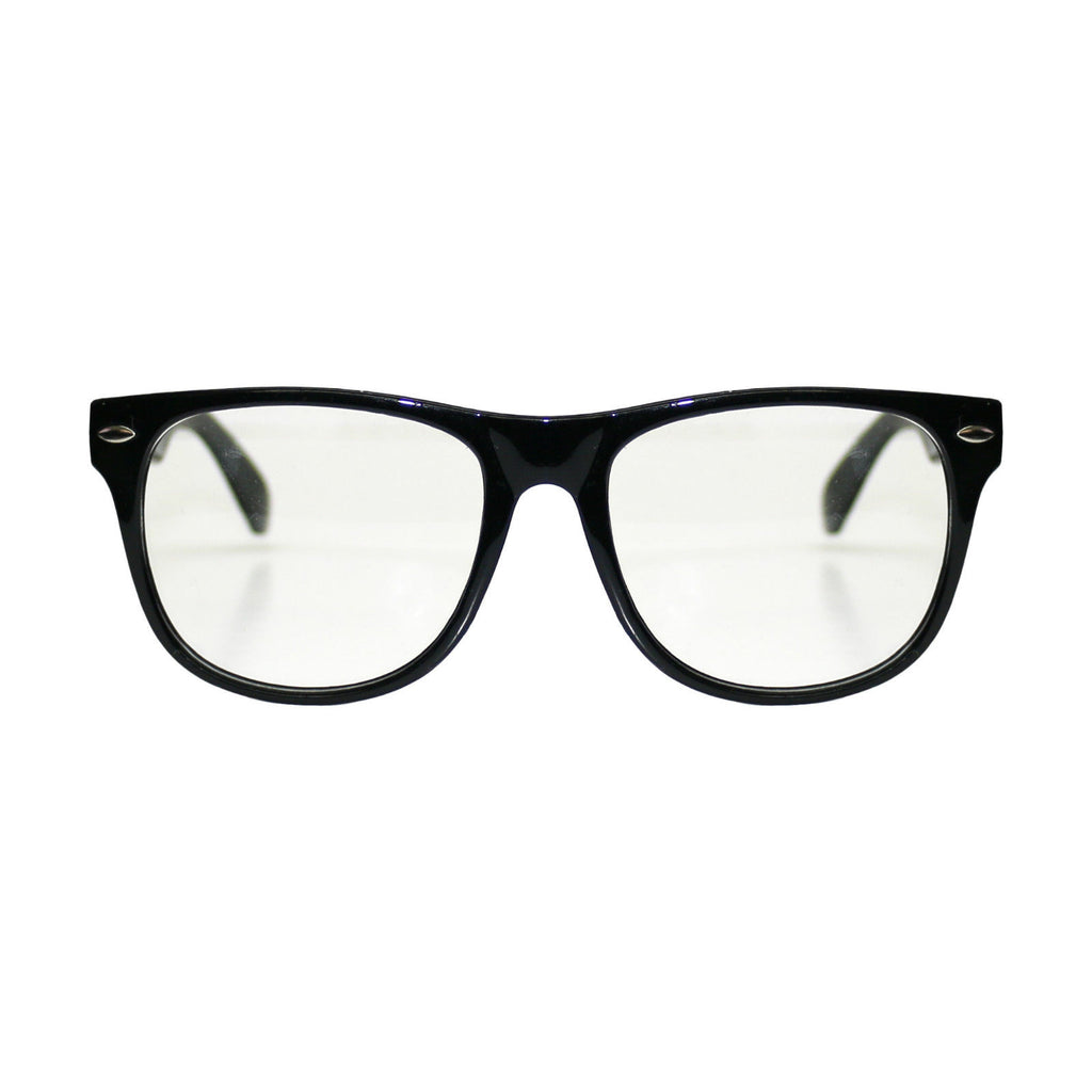 Geek Wayfarer Shades (Clear, Black)
