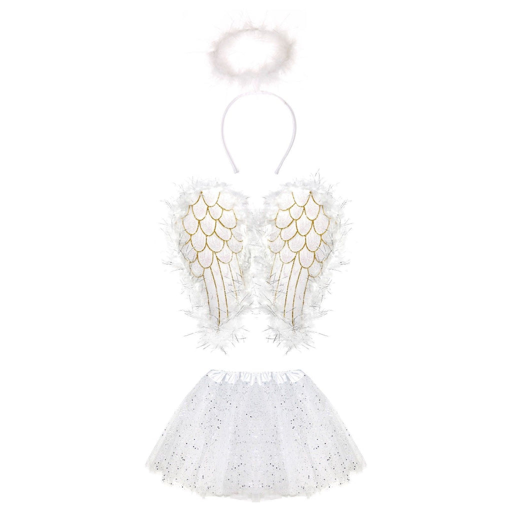 Girls White Christmas Angel Costume