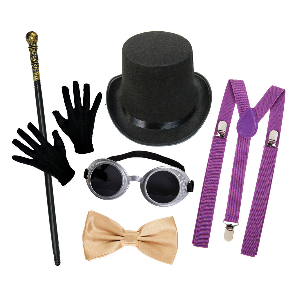 Chocolate Factory Set (w/ Black Hat + Purple Braces)