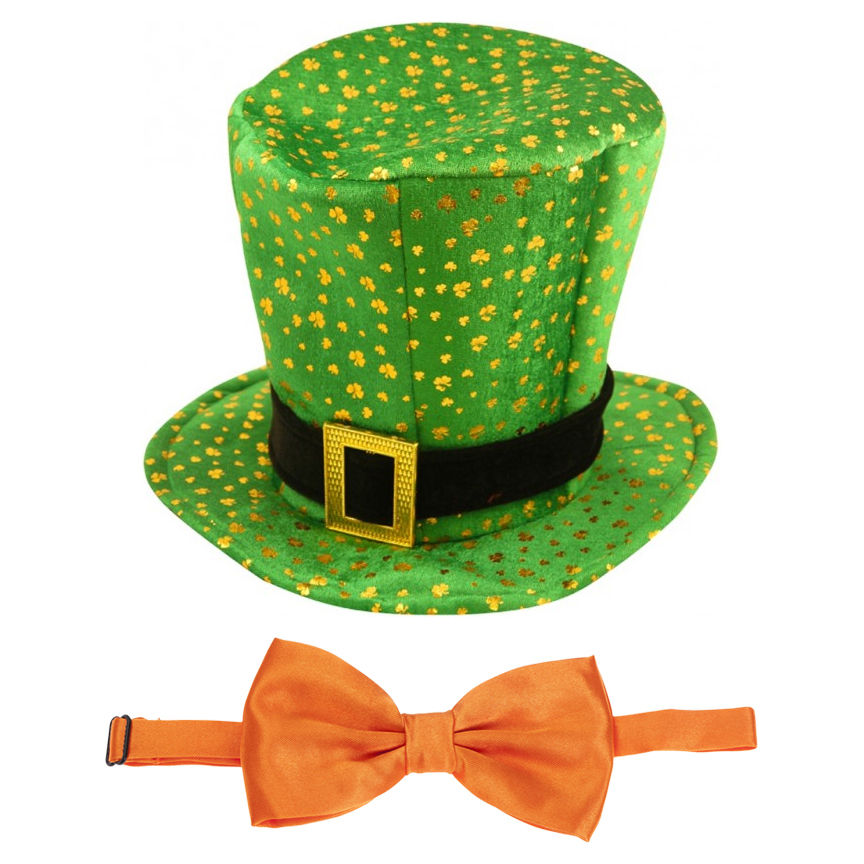 Green Leprechaun Hat & Orange Bow Tie