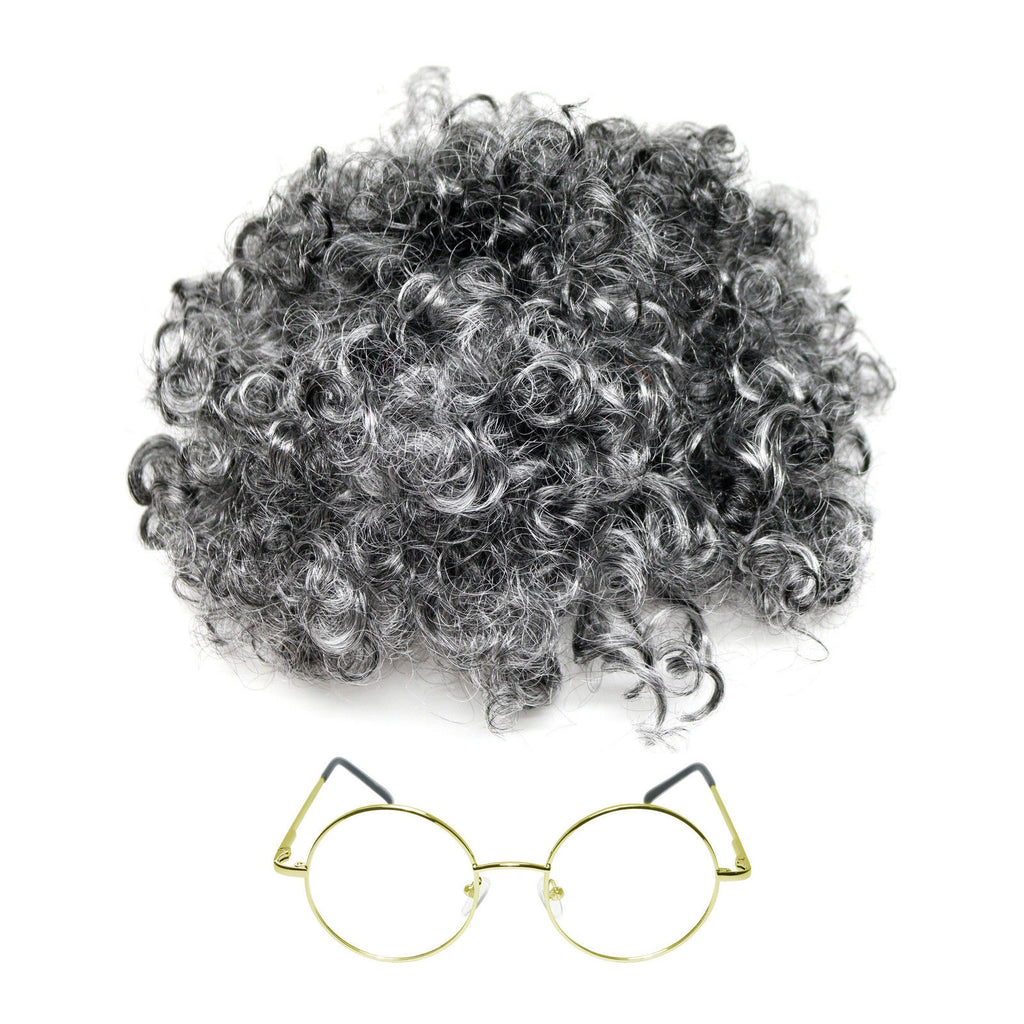 Curly Grey Granny wig + Round Glasses