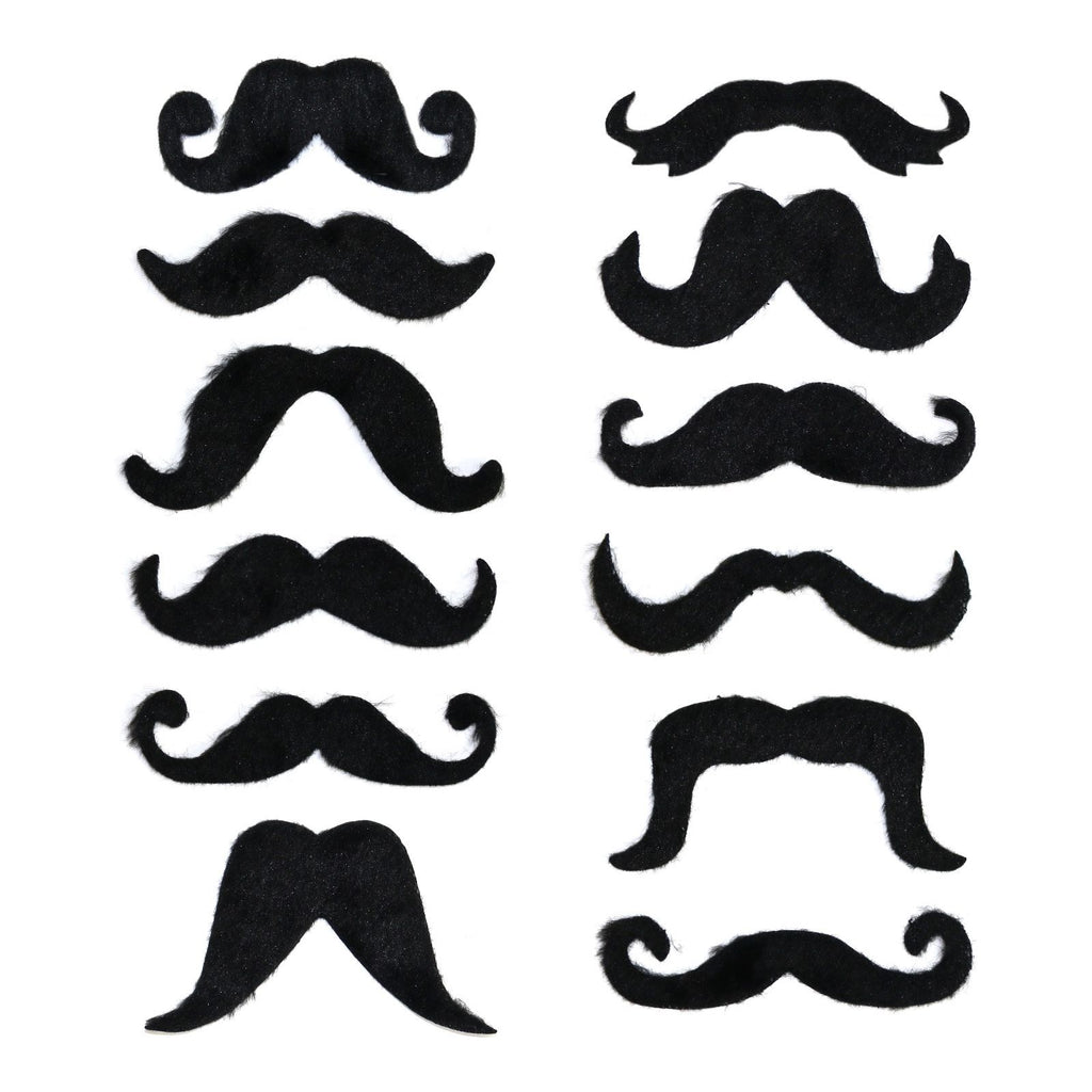 Pack of 12 Black Self-Adhesive Moustaches