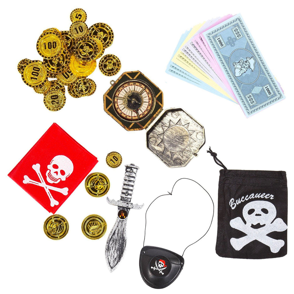 Pirate Accessory Party Set (Compass, Dagger, Eyepatch + Treasure)