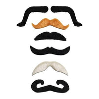 Pack of 6 Assorted Moustaches (Black, Grey & Brown)