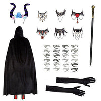 Maleficent Set (Cape, Horns, Necklace, Eye Tattoos, Cane & Gloves)