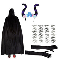 Maleficent Set (Cape, Horns, Eye Tattoos & Gloves)