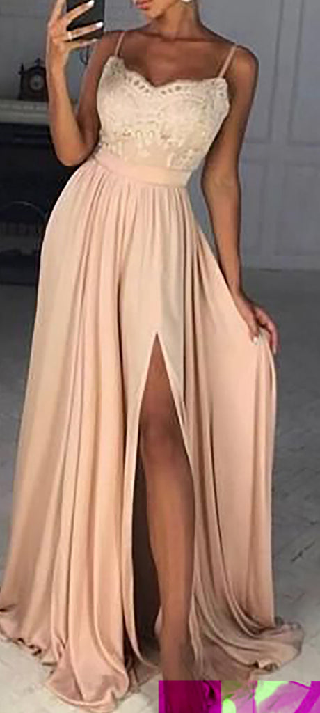 Cute Peach Modest Long Prom Dresses Outfit Ideas for Graduation for Teens - vestido de fiesta de graduación - www.GlamantiBeauty.com