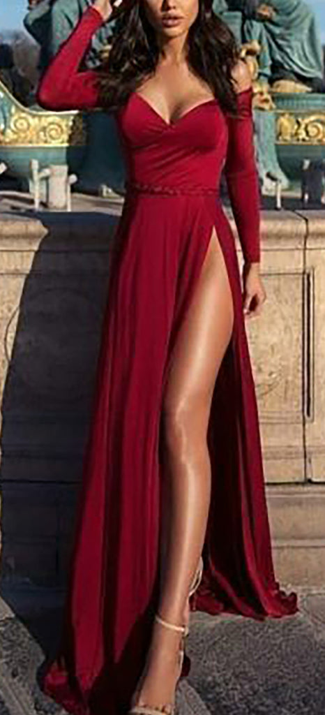 Cute Long Sleeve Red Off the Shoulder Slit Prom Dresses Outfit Ideas for Graduation for Teens - vestido de fiesta de graduación - www.GlamantiBeauty.com