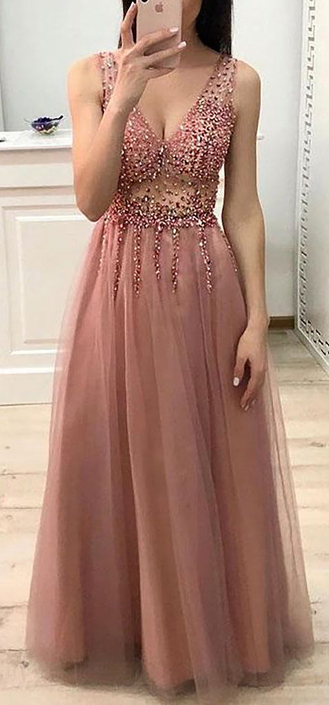 Cute Beige Chiffon Long Prom Dresses Outfit Ideas for Graduation for Teens - vestido de fiesta de graduación - www.GlamantiBeauty.com