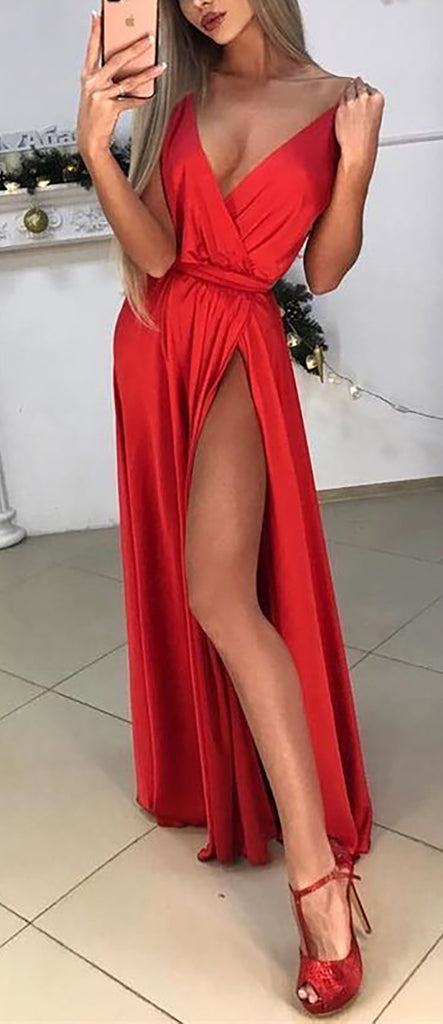 Sexy Red Long Prom Dresses Outfit Ideas for Graduation for Teens - vestido de fiesta de graduación - www.GlamantiBeauty.com