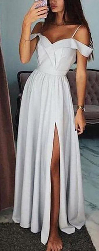 Cute Off the Shoulder Satin Long Prom Dresses Outfit Ideas for Graduation for Teens - vestido de fiesta de graduación - www.GlamantiBeauty.com