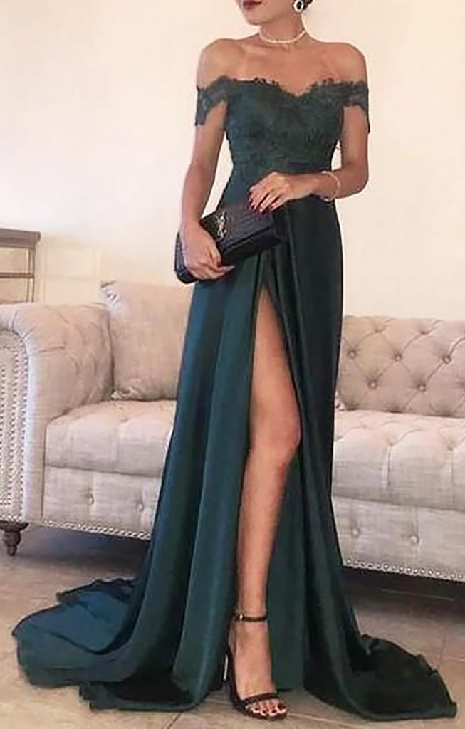 Vintage Classic Green Long Floral Flower Off the Shoulder Prom Dresses Outfit Ideas for Graduation for Teens - vestido de fiesta de graduación - www.GlamantiBeauty.com