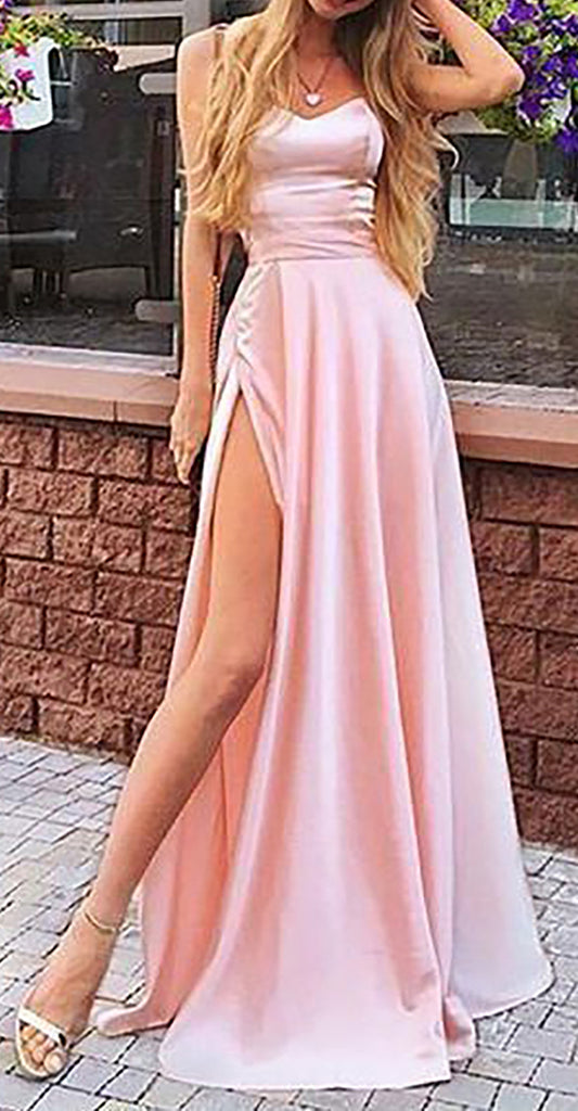 Cute Pink Silk Satin Long Prom Dresses Outfit Ideas for Graduation for Teens - vestido de fiesta de graduación - www.GlamantiBeauty.com