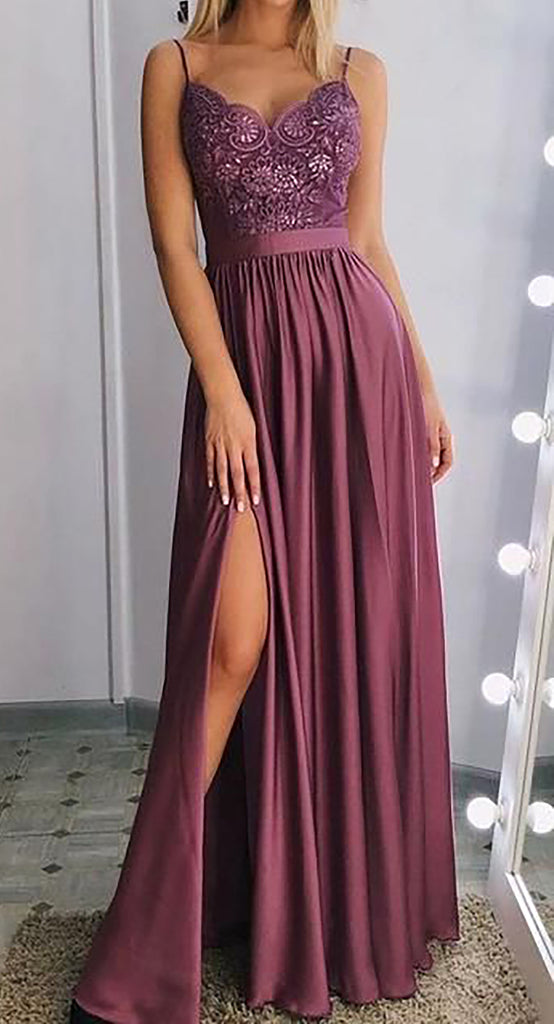 Cute Mauve Floral Flower Lace Long Prom Dresses Outfit Ideas for Graduation for Teens - vestido de fiesta de graduación - www.GlamantiBeauty.com
