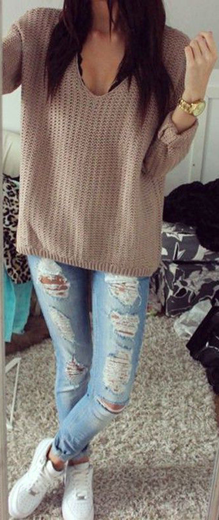 13fe55e335 Cute Comfy School Winter Outfit Ideas for Teenagers with Jeans with Sweater  - ideas lindas del