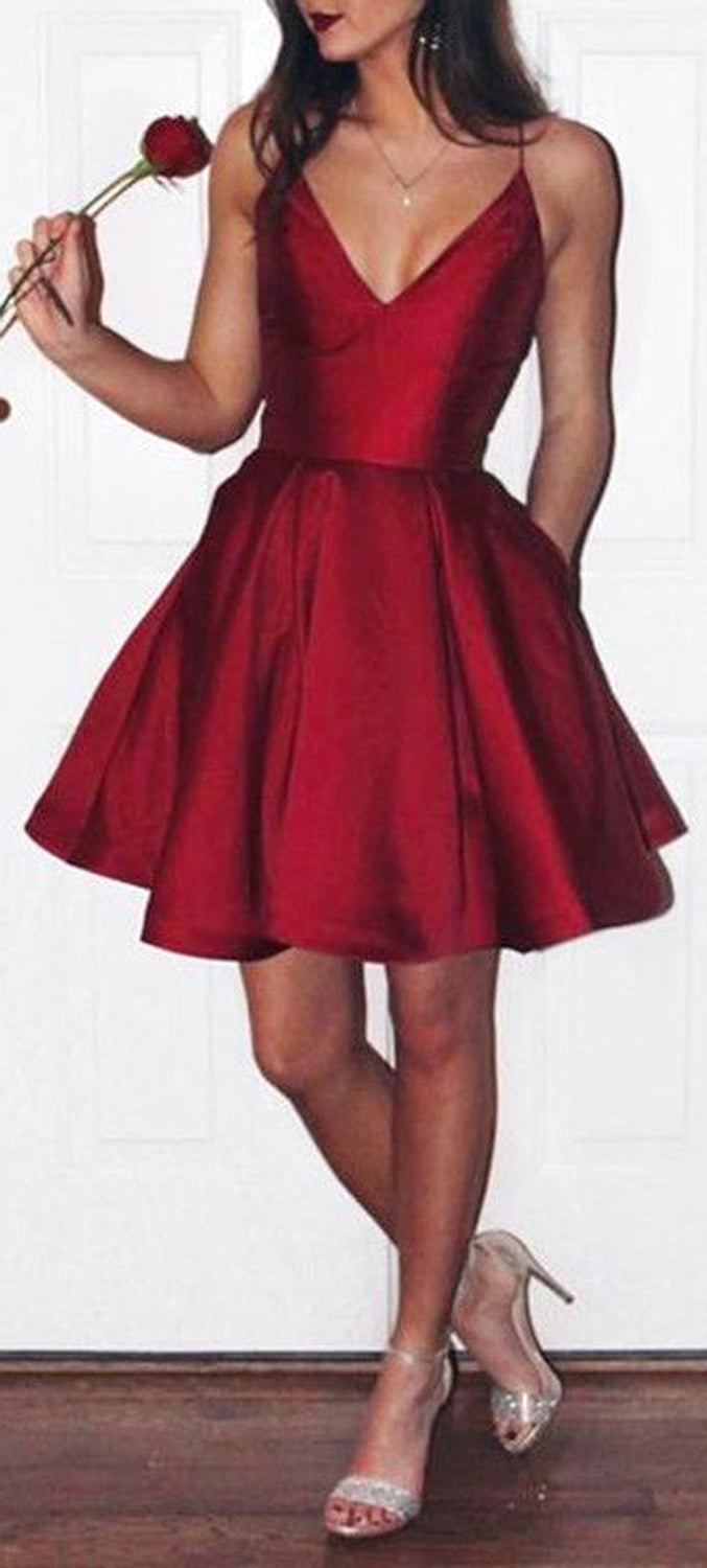Fancy Classy Party Dance Outfit Ideas For Teenagers for Prom for Teen Girls - Satin Red A line Skater Dress - día de san valentín Outfit Ideas para mujeres - www.GlamantiBeauty.com