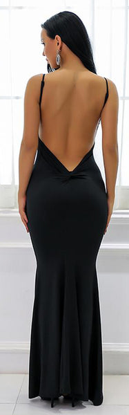 Hot Black Tight Long Prom Dresses - Low Cut Ruched Backless Deep V Neck Plunge Mermaid Gown Simple Maxi Dress for Graduation Homecoming Cocktail Evening Party  - Vestidos de baile largos ceñidos - www.GlamantiBeauty.com #promdresses