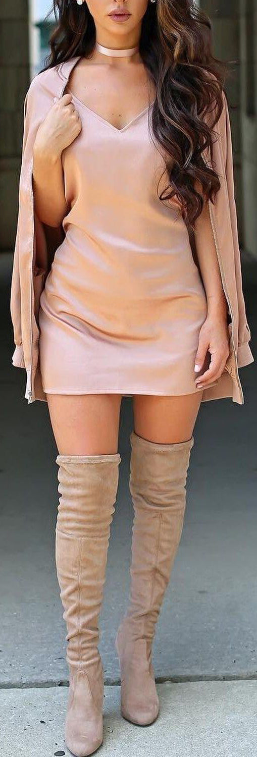 Romantic Valentines Day Outfit Ideas for Women  - Blush Satin Mini Dress Thigh High Beige Boots - día de san valentín Outfit Ideas para mujeres - www.GlamantiBeauty.com