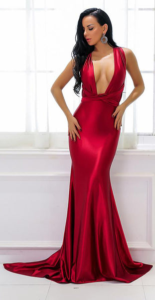 Beautiful Red Silk Prom Dresses - Gorgeous Satin Graduation Homecoming Deep V Neck Plunge Backless Mermaid Gown Floor Length Dress - Hermosos vestidos de baile de seda roja - www.GlamantiBeauty.com #promdresses