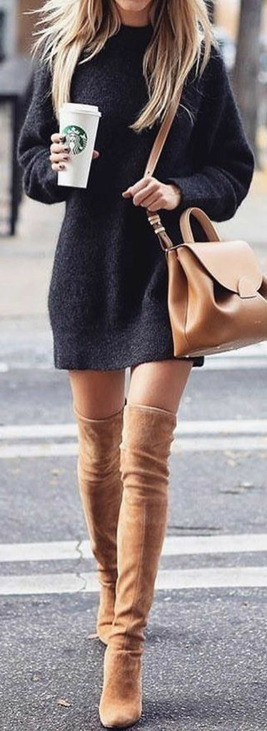 8d58e97b1ab Classy Elegant Going Out Thigh High Boots Outfit Ideas for Women Fall or  Winter - Elegantes