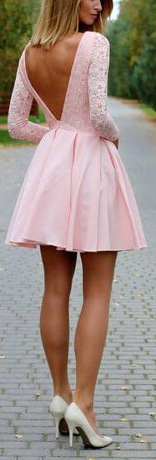 Classy Elegant Outfit Ideas for Women for Teenagers for Teen Girls - Aline Lace Blush Pink Skater Dress - día de san valentín Outfit Ideas para mujeres - www.GlamantiBeauty.com