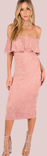 Cute Spring Outfit Ideas for Women - Romantic Elegant Classy Pink Suede Off the Shoulder Midi Dress - ideas lindas del equipo de la primavera para adolescentes - www.GlamantiBeauty.com #outfits