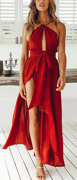 Sexy Halter Neck Red Ruffle Slit Long Prom Dresses Outfit Ideas for Graduation for Teens - vestido de fiesta de graduación - www.GlamantiBeauty.com