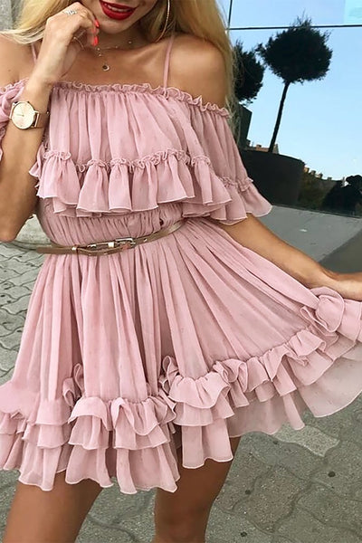 Cute Pink Ruffle Chiffon Short Mini Prom Dresses Outfit Ideas for Graduation for Teens - vestido de fiesta de graduación - www.GlamantiBeauty.com