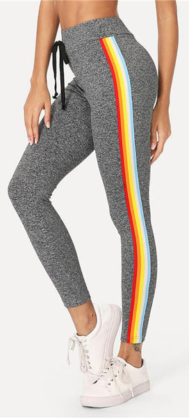 Cute Casual Rainbow Striped Leggings Bottoms - www.GlamantiBeauty.com