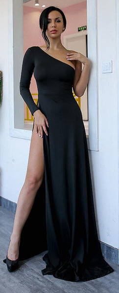 Classy Simple Long Prom Dresses with Sleeves in Black - One off the Shoulder Asymmetrical Tight Fitted Mermaid Maxi Gown Dress with Slit for Graduation Homecoming Party - Vestidos de fiesta largos con clase simple - www.GlamantiBeauty.com #promdresses