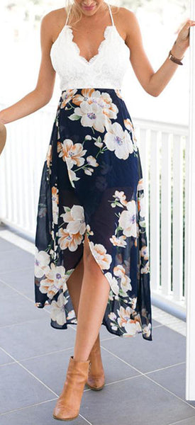Casual Summer Dresses Outfit Ideas for Women - High Low Dress White Crotchet Top Backless & Floral Print Skirt - ideas de trajes de verano para mujeres - www.GlamantiBeauty.com #dresses