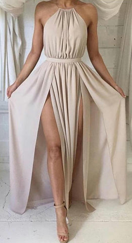 Elegant Formal Long Prom Dresses Outfit Ideas for Teens - Simple Modest Backless Halter Neck Beige Chiffon Maxi Dress Cheap 2018 for Homecoming for Graduation - elegantes vestidos de fiesta largos formales Ideas de vestimenta para adolescentes - www.GlamantiBeauty.com