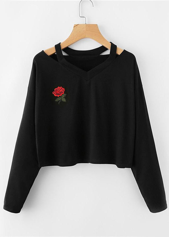 Back to School Outfit Ideas for School for Teens - Julissa Rose Embroidered Cropped Long Sleeve Top Sweater in Black - www.GlamantiBeauty.com
