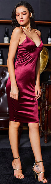 Fancy Outfit Ideas Satin Midi Dress Prom Evening Party Christmas New Years Fashion Style Elegant Fancy -  vestidos de fiesta elegantes ideas de vestimenta para mujer - www.GlamantiBeauty.com