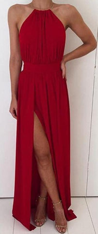 Elegant Formal Long Prom Dresses Outfit Ideas for Teens - Simple Modest Backless Halter Neck Red Chiffon Maxi Dress Cheap 2018 for Homecoming for Graduation - elegantes vestidos de fiesta largos formales Ideas de vestimenta para adolescentes - www.GlamantiBeauty.com