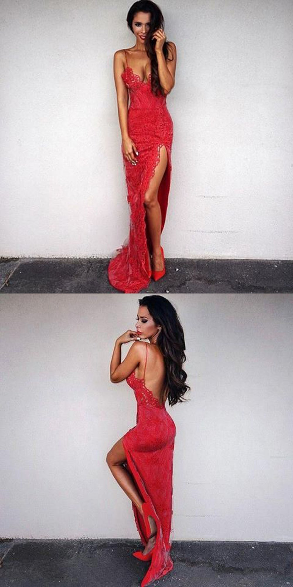 Sexy Valentines Date Outfit Ideas for Women  -  día de San Valentín, ideas de ropa para mujeres - Red Lace Maxi Dress Back Less - www.GlamantiBeauty.com
