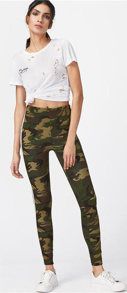 Sporty Comfy Back to School Outfit Ideas for College Highschool Teens 2018 Camouflage High Waisted Leggings - www.GlamantiBeauty.com