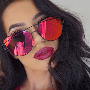 Pretty Cute Bold Dramatic Makeup Ideas for Brown Eyes - Cheap Designer Cateye Mirrored Lenses Oversized Sunglasses Reflective Mirror - 2018 Classic Summer Trend Trending www.GlamantiBeauty.com